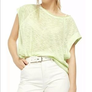 NWT We the Free Neon Lime Striped Tee size M